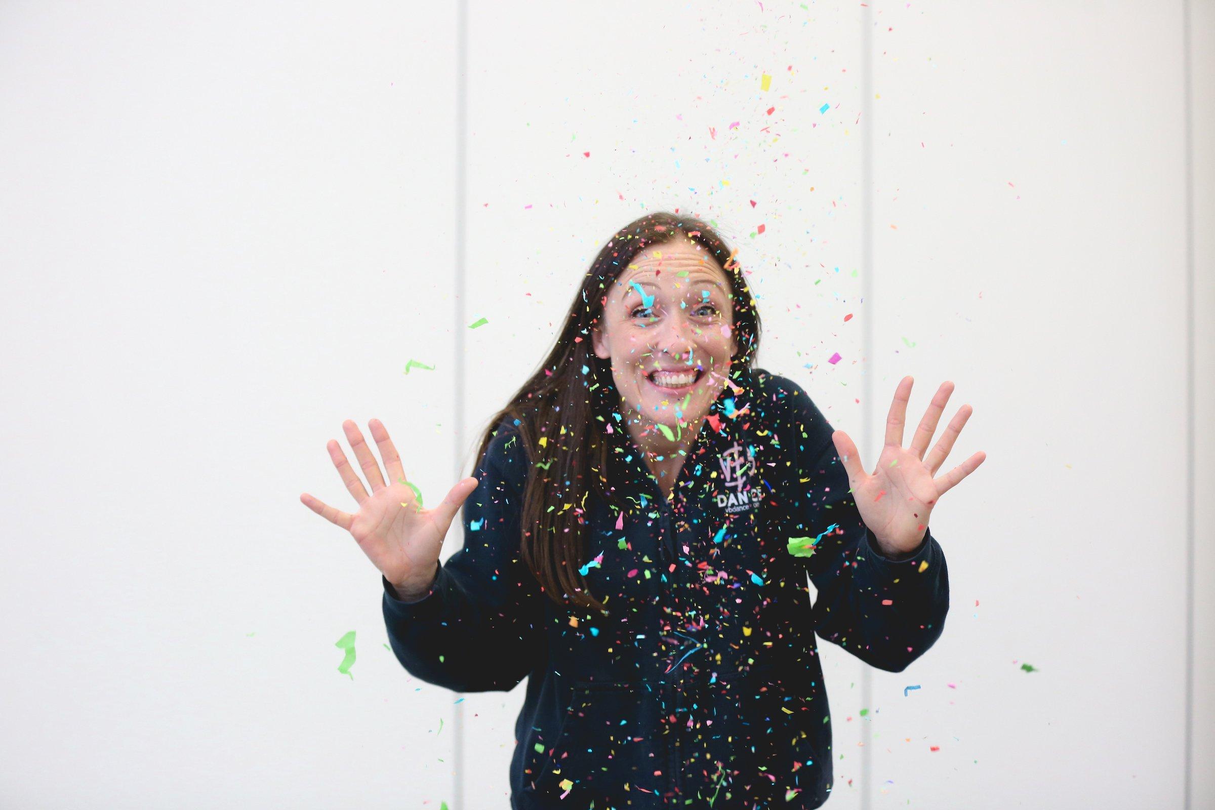 Victoria throwing confetti